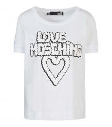 Love Moschino White Short Sleeves Logo Tee