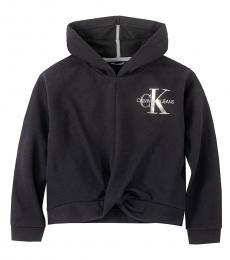 Calvin Klein Little Girls Anthracite Logo Twist Hoodie