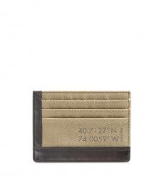 Calvin Klein Beige Canvas Card Case