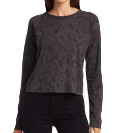 Rag And Bone Off Black Printed Cropped T-Shirt