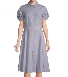 DKNY Blue Classic Cotton Shirtdress