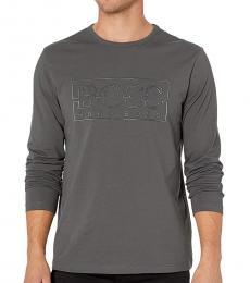 Hugo Boss Dark Grey Long Sleeve Logo T-Shirt