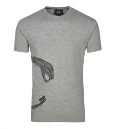 Cavalli Class Grey Snake Print T-Shirt