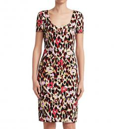 Roberto Cavalli Sienna Cat Ikat Leopard Cady Shift Dress