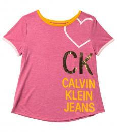 Calvin Klein Girls Berry Logo Ringer T-Shirt
