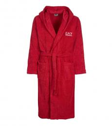 Emporio Armani Red Logo Front Tie Bathrobe
