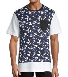Navy Blue Camo Colorblock T-Shirt