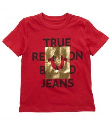 True Religion Little Boys Ruby Red Knock Out Foil T-Shirt