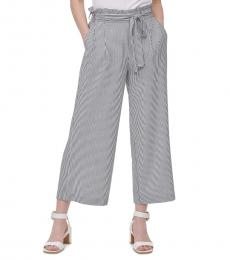Calvin Klein BlackWhite Belted Wide-Leg Pants