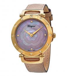 Salvatore Ferragamo Beige-Gold Logo Watch