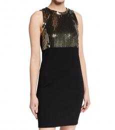 Michael Kors Black Sequin Bodice Party Dress
