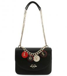 Love Moschino Black Love Charm Medium Shoulder Bag