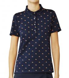 Tory Burch Navy Blue Retro-Print Pique Polo Tee