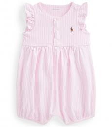 Ralph Lauren Baby Girls Carmel Pink Oxford Bubble Shortall