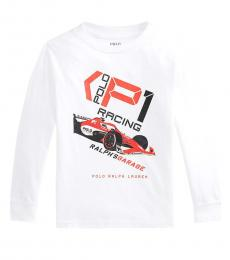 Ralph Lauren Little Boys White Jersey Graphic T-Shirt