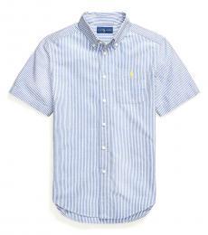 Ralph Lauren Boys Royal White Seersucker Shirt