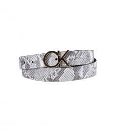 Calvin Klein Grey Snake Print Reversible Belt