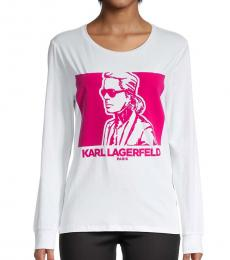 Karl Lagerfeld White Graphic Stretch-Cotton Tee
