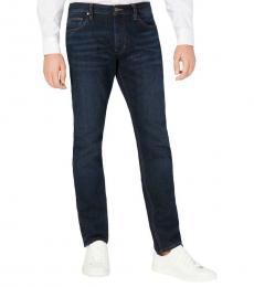 Michael Kors Navy Blue Parker Slim Fit Mid-Rise Jeans