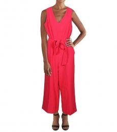Tropic Red V-Neck Casual Jumpsuit