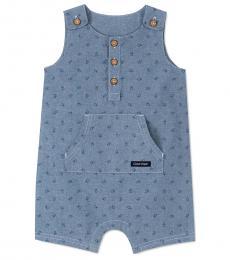 Calvin Klein Baby Boys Blue Logo-Printed Shortalls