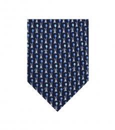 Salvatore Ferragamo Dark Blue Rabbit Tie
