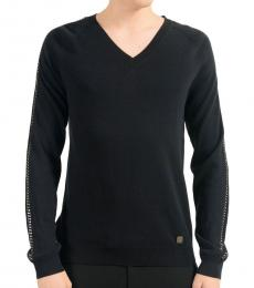Versace Collection Black Chain Trimmed Sweater