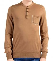 Dolce & Gabbana Brown Henley Sweater