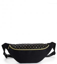True Religion Black Monogram Print Fanny Pack