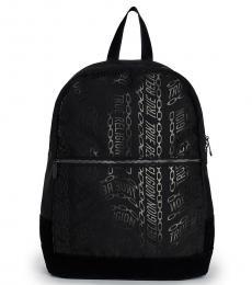 True Religion Black Logo Print Large Backpack