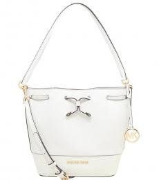 Michael Kors White Trista Medium Bucket Bag