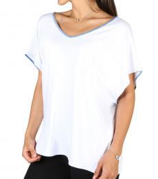Emporio Armani White V-Neck Solid Top
