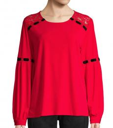 Red Balloon-Sleeve Lace Top