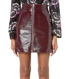 Cherry Front Zip Mini Skirt
