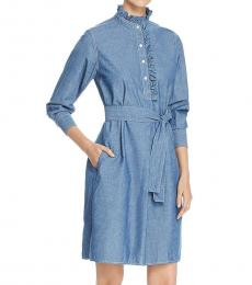 Tory Burch Chambray Deneuve Denim Ruffled Dress