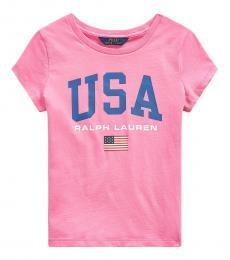 Ralph Lauren Girls Baja Pink Graphic T-Shirt