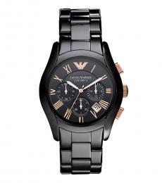 Emporio Armani Black Rose Gold Ceramic Chronograph Watch
