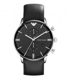 Emporio Armani Black Chronograph Leather Watch
