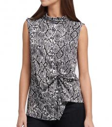 DKNY Black Printed Asymmetrical Top