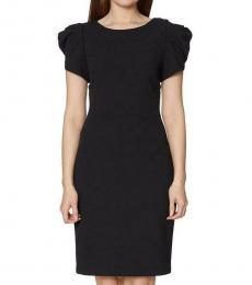 Betsey Johnson Black Puff Sleeve V-Back Midi Dress