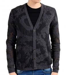 Versace Collection Grey V Neck Cardigan Sweater