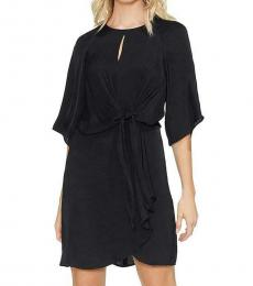 Vince Camuto Rich Black Tie Ruffled Party Dress