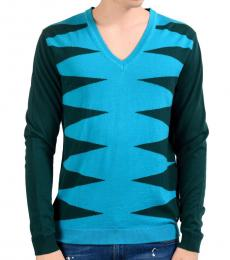 Versace Collection Multicolor Wool V-Neck Sweater