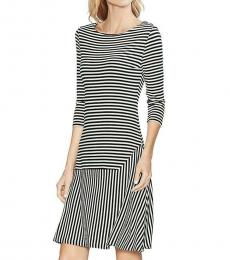 Vince Camuto Rich Black Boat Neck Casual Dress