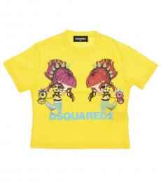 Dsquared2 Little Girls Yellow Cotton Printed T-Shirt