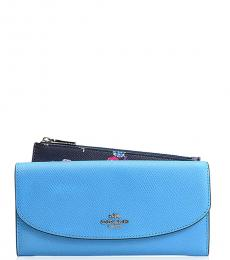 Coach Light Blue Wildflower Pop Wallet
