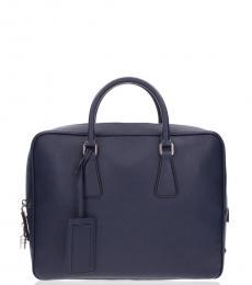 Prada Dark Blue Work Large Briefcase Bag
