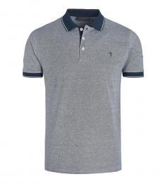 Trussardi Grey Contrast Collar Logo Polo