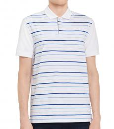 Standard White Paneled-Stripe Polo