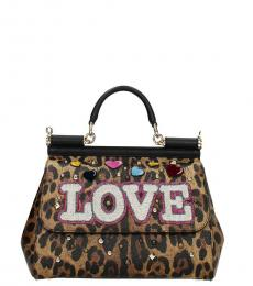 Leopard Print Silicy Love Small Satchel